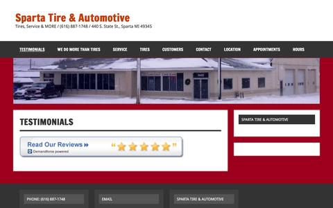 Screenshot of Testimonials Page spartatire.com - Testimonials | Sparta Tire & Automotive - captured Feb. 15, 2016
