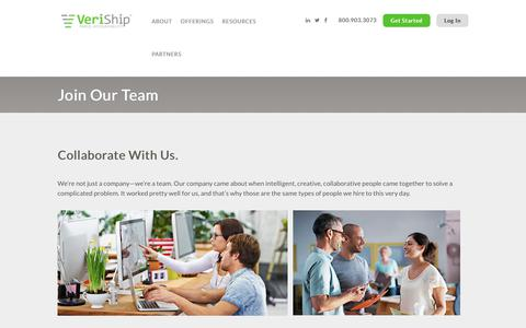 Screenshot of Jobs Page veriship.com - Join Our Team to Help Reduce Shipping Costs for Customers | VeriShip Careers - captured June 18, 2018