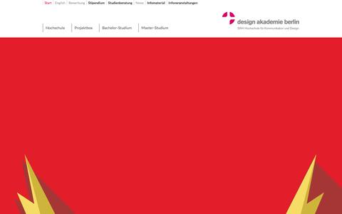 Screenshot of Home Page design-akademie-berlin.de - Start - design akademie berlin | SRH Hochschule für Kommunikation und Design - captured Jan. 7, 2016