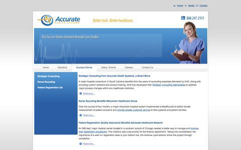 Screenshot of Case Studies Page accuratehealth.com - Healthcare Software Solutions - Nurse Rounding - Patient Satisfaction - captured Feb. 5, 2016