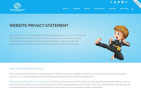 Screenshot of Privacy Page bgctm.org - Boys & Girls Club   –  Privacy Policy - captured Feb. 8, 2016