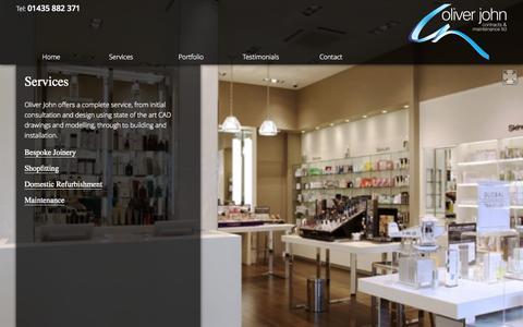 Screenshot of Services Page oliverjohn.net - Services | Oliver John - captured Oct. 7, 2014