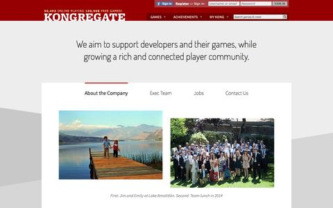 Screenshot of About Page kongregate.com - About Kongregate - captured July 3, 2016