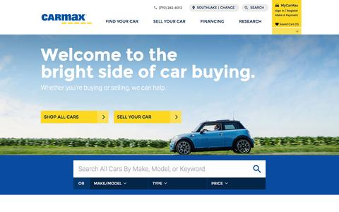 Screenshot of Home Page carmax.com - CarMax - Browse used cars and new cars online - captured May 6, 2016