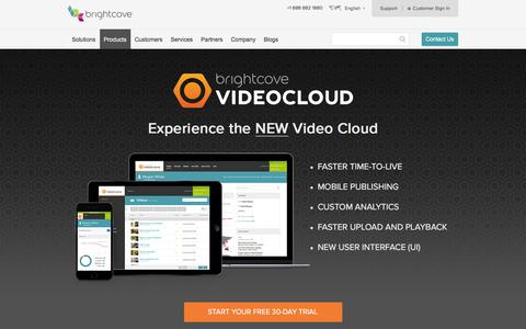 Screenshot of Products Page brightcove.com - Online Video Platform | Video Hosting | Video Cloud - captured Nov. 25, 2015