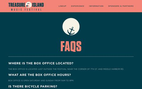 Screenshot of FAQ Page treasureislandfestival.com - FAQs — Treasure Island Music Festival - captured Oct. 21, 2018