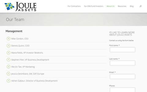 Screenshot of Team Page jouleassets.com - Our Team | Joule Assets - captured Oct. 6, 2014