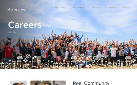 Screenshot of Jobs Page fivestars.com - Careers - Fivestars - captured April 18, 2018