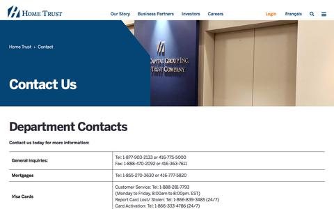 Screenshot of Contact Page hometrust.ca - Contact – Home Trust - captured July 20, 2019