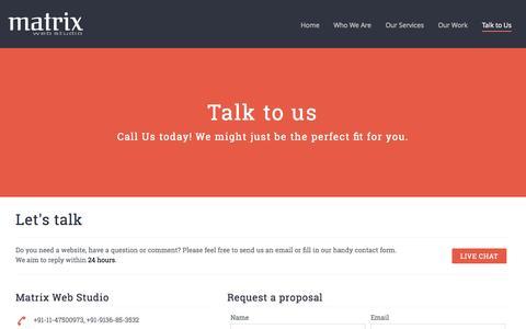 Screenshot of Contact Page matrixwebstudio.com - Website Designing Company in Delhi, Web Design Company, Web Development Company Delhi India - captured Sept. 30, 2014