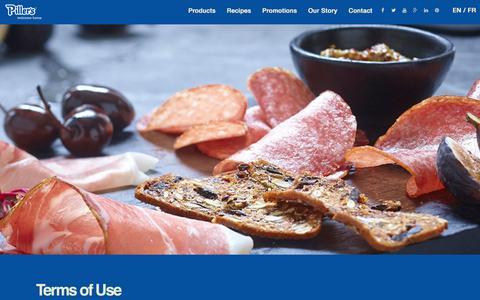 Screenshot of Terms Page pillers.com - Piller's Fine Foods - captured Nov. 6, 2016