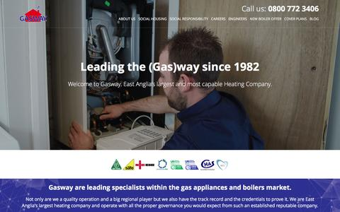 Screenshot of Home Page gasway.co.uk - Gasway | Boiler Servicing, Repair & Install | Boiler Cover - captured Jan. 26, 2016