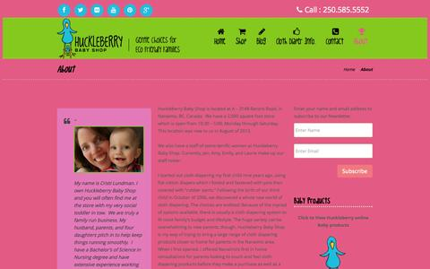Screenshot of About Page huckleberrybabyshop.com - About | Huckleberry Baby Shop - captured Sept. 30, 2014