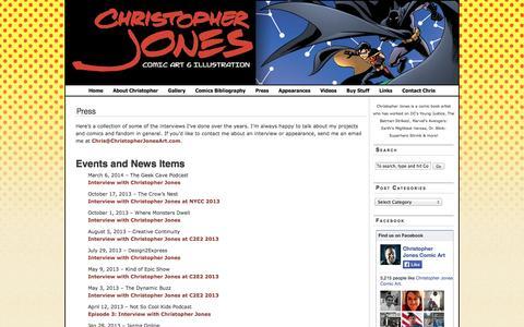 Screenshot of Press Page christopherjonesart.com - Press | Christopher Jones Comic Art and Illustration Blog - captured Oct. 2, 2014