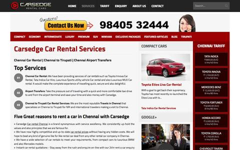 Screenshot of Services Page carsedge.com - Car Rentals in Chennai | Car Hire | Travels in Chennai | Car Rental - captured Nov. 4, 2015