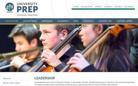 Screenshot of Team Page universityprep.org - Leadership - University Prep - captured Aug. 12, 2016