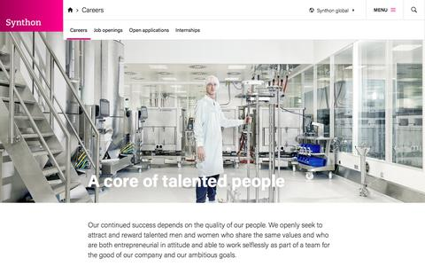 Screenshot of Jobs Page synthon.com - A core of talented people - captured Oct. 24, 2017
