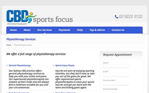 Screenshot of Services Page cbdphysio.com.au - Physiotherapy Services: Massage, Men's Health, Women's Health - CBD Physio - captured Sept. 25, 2018