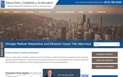 Screenshot of Contact Page kjs-law.com - Contact Us | Chicago Personal Injury Trial Lawyers - captured July 6, 2017