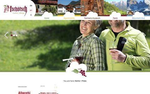 Screenshot of Press Page tschoetscherhof.com - Guesthouse Zu Tschötsch - Press - captured June 8, 2016