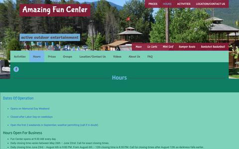 Screenshot of Hours Page amazingfuncenter.com - Hours | Amazing Fun Center - captured Oct. 25, 2018
