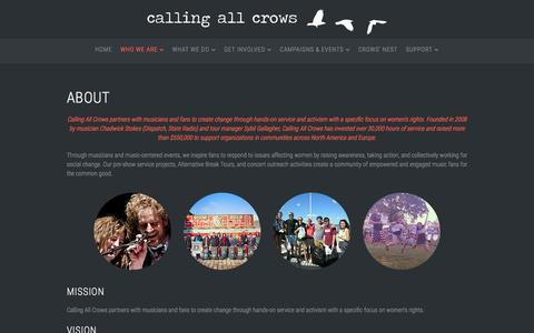 Screenshot of About Page callingallcrows.org - About - captured May 13, 2017