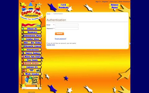 Screenshot of Login Page superfuninflatables.com - Super Fun Inflatables Party Rentals in Fairfield County, CT.  Bounce Houses ... Inflatable Slides ... Obstacle Courses ... Dunk Tank Rentals. - captured Sept. 23, 2014