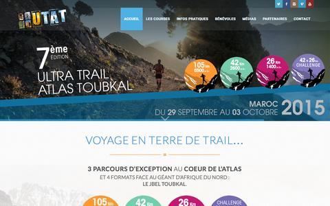 Screenshot of Home Page atlas-trail.com - UTAT - L'Ultra Trail Atlas Toubkal ® | L'UTAT, voyage en terre de trail … - captured Aug. 29, 2015
