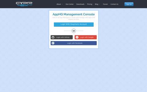 Screenshot of Login Page shephertz.com - App42Login - captured Feb. 15, 2020