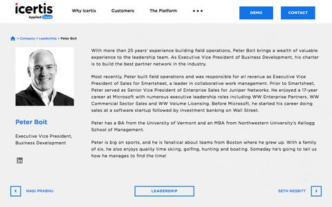 Screenshot of Team Page icertis.com - Peter Boit - Executive Vice President, Business Development - Icertis - captured May 18, 2018