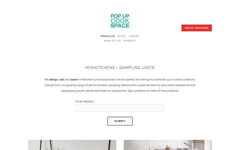 Screenshot of Products Page popupcookspace.com - Mobile Kitchens and Food Sampling Stands | Pop Up Cookspace | Pop Up Cookspace - captured May 19, 2017