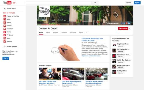 Screenshot of YouTube Page youtube.com - Contact At Once!  - YouTube - captured Oct. 22, 2014