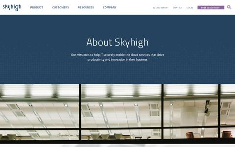 Screenshot of About Page skyhighnetworks.com - About Skyhigh | Skyhigh Networks - captured July 20, 2014