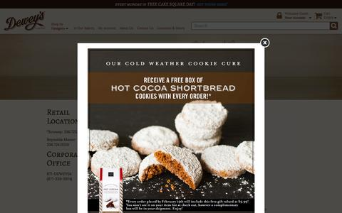 Screenshot of Contact Page deweys.com - Moravian Cookies, Cheese Straws, Cakes, Breads | Contact Us | Dewey's Bakery - captured Feb. 9, 2016