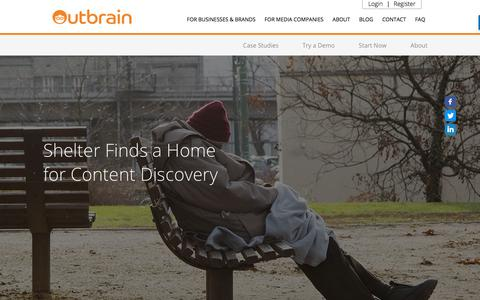 Screenshot of Case Studies Page outbrain.com - Shelter's Case Study: Using a Discovery Platform | Outbrain.com - captured April 19, 2018