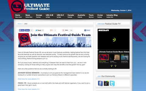 Screenshot of Jobs Page ultimatefestivalguide.com - Work with Ultimate Festival Guide | Jobs - captured Oct. 1, 2014
