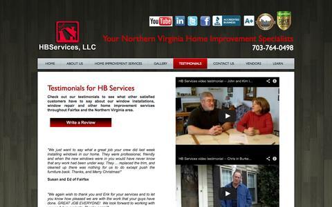 Screenshot of Testimonials Page hb-service.biz - Window Installation Northern Virginia | Window Repair Fairfax Virginia | Window Replacement Northern Virginia - captured Oct. 1, 2014