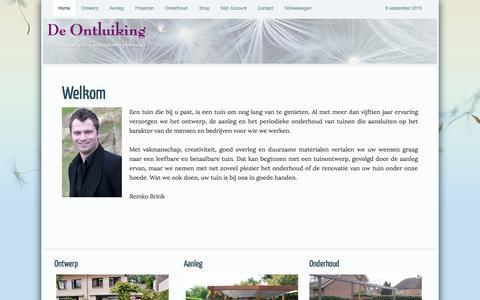 Screenshot of Home Page deontluiking.nl - Welkom → De Ontluiking, Hoveniersbedrijf Dodewaard - captured Sept. 7, 2015