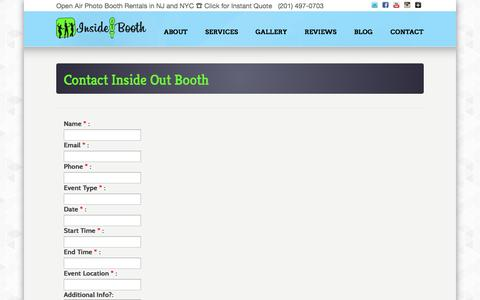 Screenshot of Contact Page insideoutbooth.com - Book NJ NYC Photo Booth Rental - Weddings, Sweet 16's, Mitzvahs, Corporate - captured Oct. 29, 2014