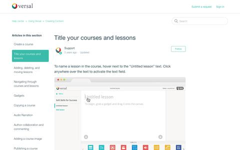 Screenshot of Support Page versal.com - Title your courses and lessons – Help center - captured Dec. 3, 2019