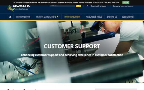 Screenshot of Support Page bostik.com - Customer Support   Bostik Australia - captured June 29, 2018