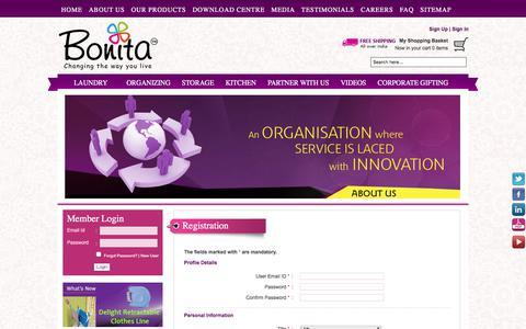Screenshot of Signup Page bonitaindia.com - Registration - captured July 17, 2017
