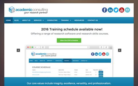 Screenshot of Home Page academic-consulting.co.nz - Academic Consulting - providing a range of research services - Academic Consulting Ltd - captured Feb. 5, 2016