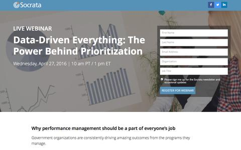 Screenshot of Landing Page socrata.com - Data-Driven Everything: How to Prioritize Your Performance Program - captured Dec. 24, 2016