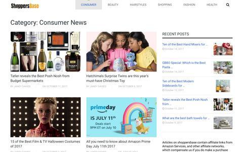 Screenshot of Press Page shoppersbase.com - Consumer News - captured Oct. 16, 2017