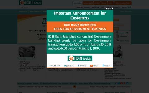 Screenshot of Home Page idbi.com - Personal & Corporate Banking | MSME & Agri banking - IDBI Bank - captured March 30, 2019