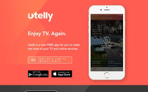 Screenshot of Home Page utelly.com - Utelly - Enjoy TV. Again - captured Feb. 22, 2016