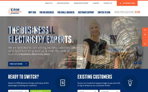 Screenshot of Home Page ermpower.com.au - Business Electricity, Suppliers for Businesses | ERM Business Energy - captured Sept. 26, 2014