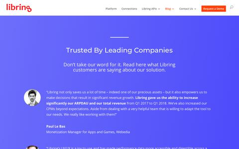 Screenshot of Testimonials Page libring.com - Libring | Read What Libring Customers Are Saying About Our Solution - captured July 19, 2018