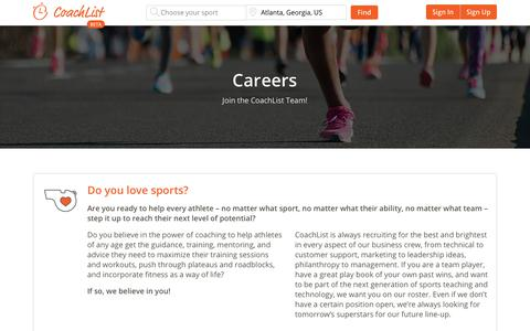 Screenshot of Jobs Page coachlist.com - Careers, Do you love sports? | CoachList - captured Dec. 15, 2018